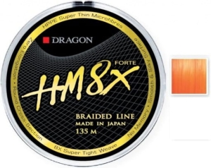 Plecionka Dragon HM8X Forte orange fluo 0,16mm 135m