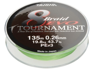 Plecionka Daiwa Tournament 8 EVO 0.10mm 135m Chart